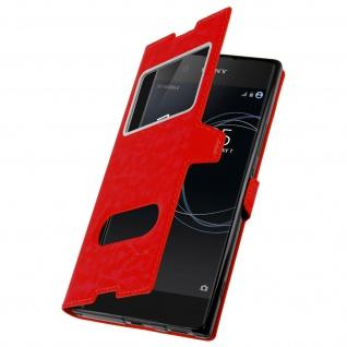 Ultradünne Doppel-Fenster Flip-Schutzhülle für Sony Xperia XA1 - Rot