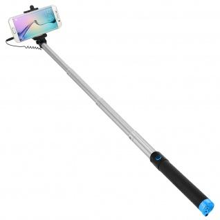 Forever Selfie-Stange ausziehbar, 3.5mm Klinkenstecker 145° schwenkbar - Blau
