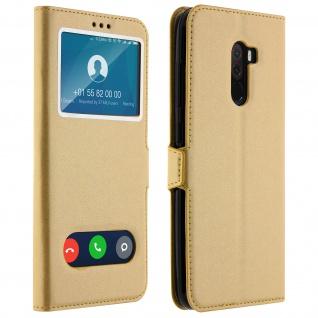 Xiaomi Pocophone F1 Flip Cover mit Doppelfenster & Standfunktion - Gold