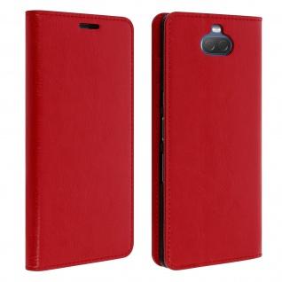 Business Leder Cover, Schutzhülle mit Geldbörse für Sony Xperia 10 - Rot