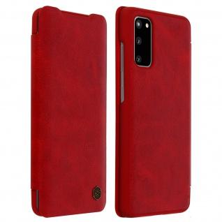 Qin Nillkin Series Leder Cover mit Kartenfach Samsung Galaxy S20 - Rot