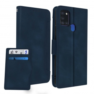 Samsung Galaxy A21s Klappetui mit Geldbörse + abnehmbares Kartenfach ? Blau