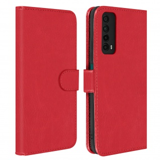 Flip Cover Geldbörse, Etui Kunstleder für Huawei P smart 2021 ? Rot