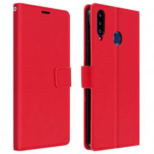 Flip Stand Case Brieftasche & Standfunktion für Samsung Galaxy A20s ? Rot