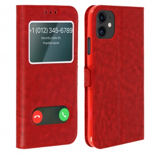 Apple iPhone 11 Flip Cover Doppelfenster & Standfunktion - Rot