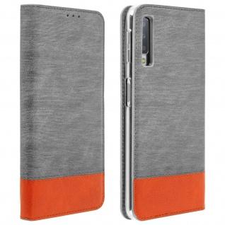 Stoff Leder Hülle für Galaxy A7 2018, Klapphülle mit Kartenfach - Grau