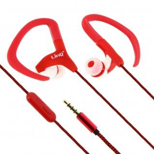LinQ DS-2011 In-Ear Sport-Kopfhörer mit Ohrbügle rot