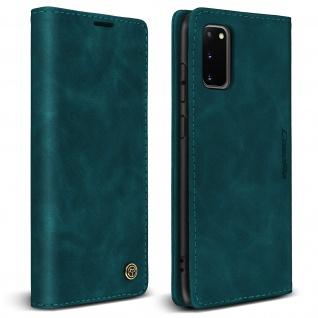 Vintage Klapphülle, Klappetui mit Geldbörse für Samsung Galaxy S20 ? Blau
