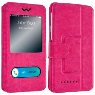 Flip-Schutzhülle Smartphones: max. 127 x 132 x 66mm, 2 Sichtfenster - Rosa