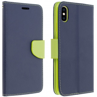 Fancy Style Cover Apple iPhone XS Max, Fach und Standfunktion - Dunkelblau