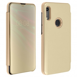 Honor 8A , Huawei Y6 2019 Flip Cover mit Spiegeleffekt & Standfunktion - Gold