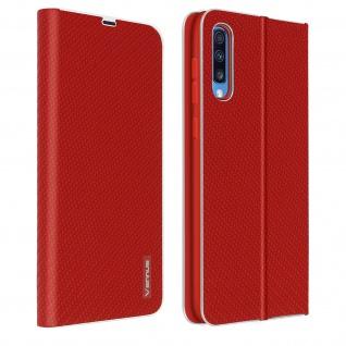 Samsung Galaxy A50 / A30s Klappetui, Cover mit Carbon Design & Ständer ? Rot