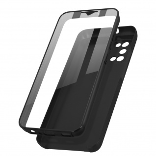 Schutzhülle für Samsung Galaxy A02s, Vorder- + Rückseite ? Schwarz