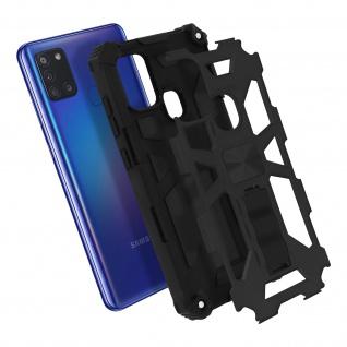 Samsung Galaxy A21s Handyhülle mit Ständer, Metallic Design - Schwarz