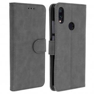 Flip Cover Geldbörse, Klappetui Kunstleder für Xiaomi Redmi Note 7 - Grau