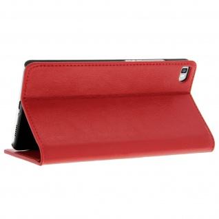 Huawei P8 Flip-Schutzhülle aus Echtleder im Brieftaschenstil - Rot - Vorschau 5