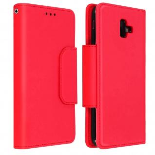 Soft Touch Klappetui mit abnehmbarer Hülle Galaxy J6 Plus, Geldbörse ? Rot