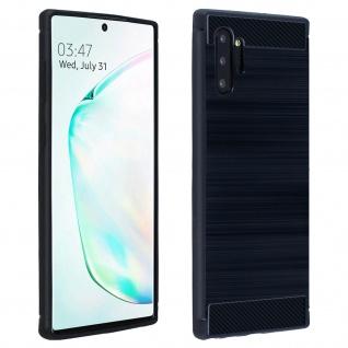Samsung Galaxy Note 10 Plus Schutzhülle mit Carbon/Aluminium Look - Dunkelblau