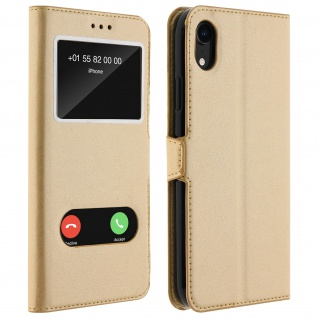 Apple iPhone XR Flip Cover mit Doppelfenster & Standfunktion - Gold