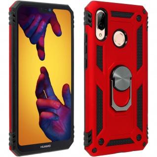 Hybrid Handyhülle mit Ring Halterung für Huawei P20 Lite - Rot