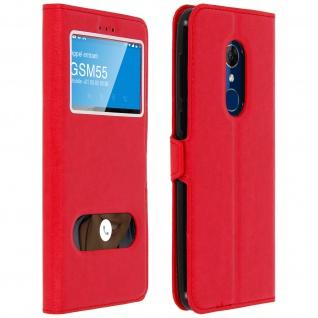 Flip Cover Doppelfenster & Standfunktion für Alcatel 3, Gelhülle - Rot