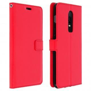 Flip Cover Stand Case Brieftasche & Standfunktion für Oneplus 6 - Rot