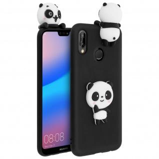 3D Silikonhülle für Huawei P20 Lite, Panda Design Hülle - Schwarz