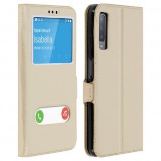 Flip Cover Doppelfenster & Standfunktion, Klappetui für Galaxy A7 2018 - Gold