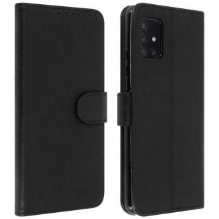 Flip Cover Geldbörse, Etui Kunstleder für Samsung Galaxy A51 5G ? Schwarz