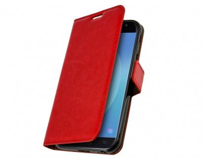 Vintage Flip-Schutzhülle mit Standfunktion für Samsung Galaxy J3 2017 - Rot