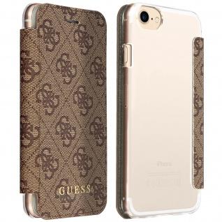 Guess 4G Schutzhülle Flip Cover mit Kartenfächern für Apple iPhone 7/8 - Braun