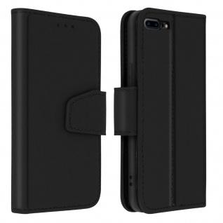 Premium Rindsleder Klapphülle für Apple iPhone 7 Plus / 8 Plus - Schwarz