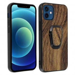 Apple iPhone 12 Mini Schutzhülle mit Holz Muster und Ring-Halterung ? Braun