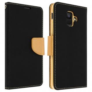 Fancy Style Flip-Cover für Galaxy A6, Kartenfach & Standfunktion - Schwarz