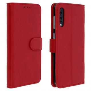 Flip Cover Geldbörse, Klappetui Kunstleder für Samsung Galaxy A50 - Rot