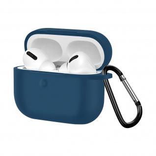 Apple AirPods Pro weiche Silikon Schutzhülle mit Karabinerhaken - Dunkelblau