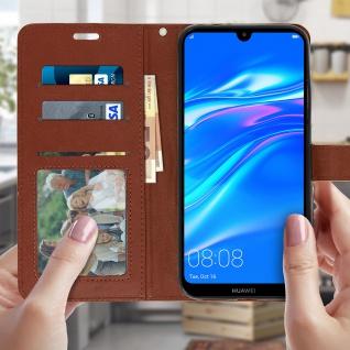 Flip Stand Cover Brieftasche & Standfunktion für Huawei Y7 2019 - Braun - Vorschau 3
