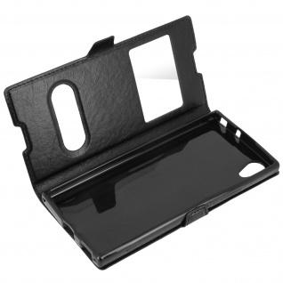 Ultradünne Doppel-Fenster Flip-Schutzhülle für Sony Xperia XA1 - Schwarz