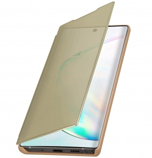 Samsung Galaxy Note 10 Flip Cover mit Spiegeleffekt & Standfunktion - Gold - Vorschau 5