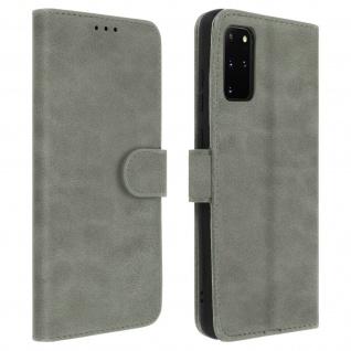 Flip Cover Geldbörse, Klappetui Kunstleder für Samsung Galaxy S20 Plus - Grau