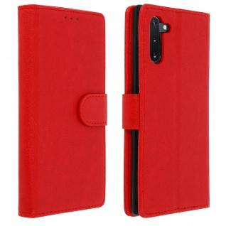 Flip Cover Geldbörse, Klappetui Kunstleder für Samsung Galaxy Note 10 â€? Rot