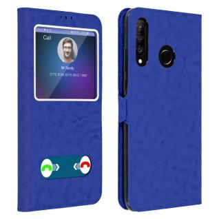 Huawei P30 Lite Flip Cover Doppelfenster & Standfunktion - Blau