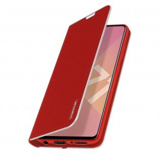 Samsung Galaxy A71 Klappetui, Cover mit Carbon Design & Ständer ? Rot - Vorschau 2