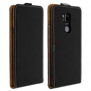Vertikales Klappetui für LG G7 ThinQ, Cover mit Kartenfach â€? Schwarz