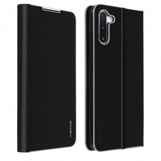 Samsung Galaxy Note 10 Klappetui, Cover mit Carbon Design & Ständer - Schwarz