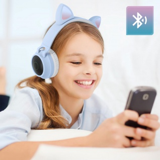 Katzenohren kabellose Bluetooth Kopfhörer, Kitty Headset ? Hellblau - Vorschau 3