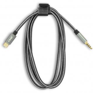 USB-C / 3.5mm Klinkenstecker mit drei Ringen, Audiokabel 1, 5 m, LinQ - Grau