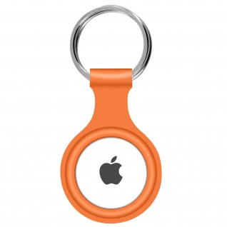 AirTag ultradünner Schlüsselanhänger aus Silikon, mit Metallring ? Orange