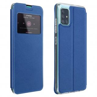 Samsung Galaxy A71 Kunstlederetui mit Sichtfenster & Kartenfach - Blau