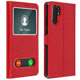 Huawei P30 Pro Flip Cover Doppelfenster & Standfunktion - Rot